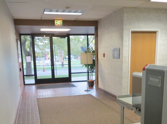 Poorly designed courthouse lobby