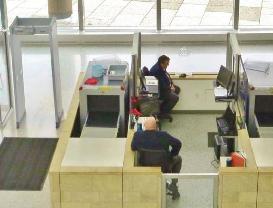 Intimidating lobby security