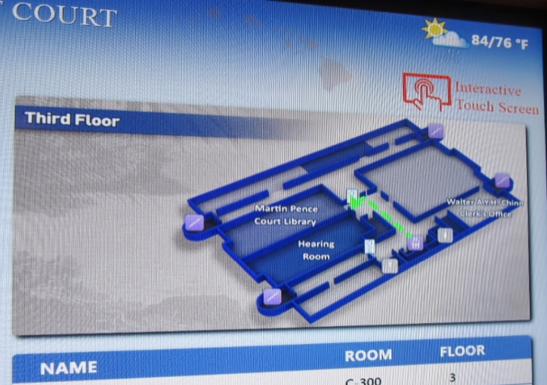 Interactive courthouse signage