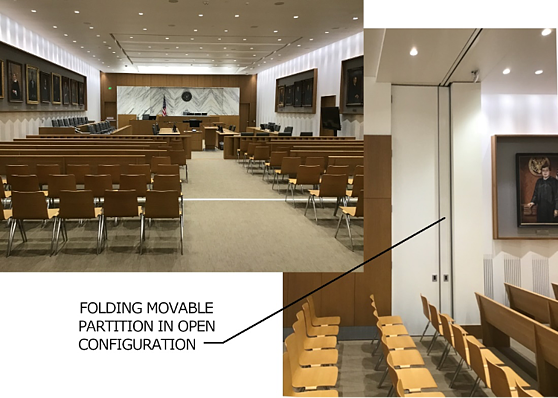 Courtroom movable partition