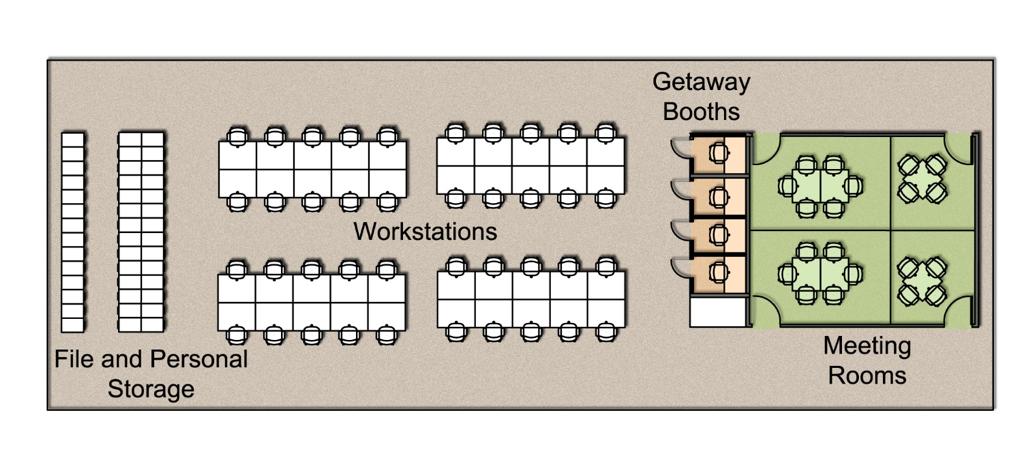 dense office layout